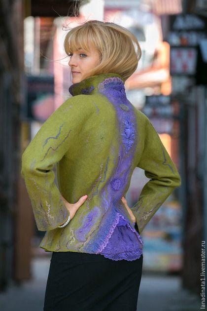 """Пиджаки, жакеты ручной работы. Жакет """"Violet and olive"""" , валяная одежда, валяние,нунофелтинг. Наталья Швец (одежда и аксессуары). Ярмарка Мастеров."""