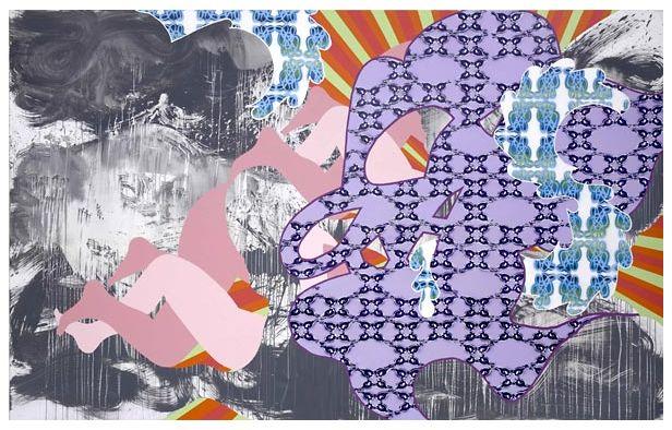 Christine Streuli, heart-core, 2007. Acryl und Lack auf Baumwolle, 250 x 400 cm