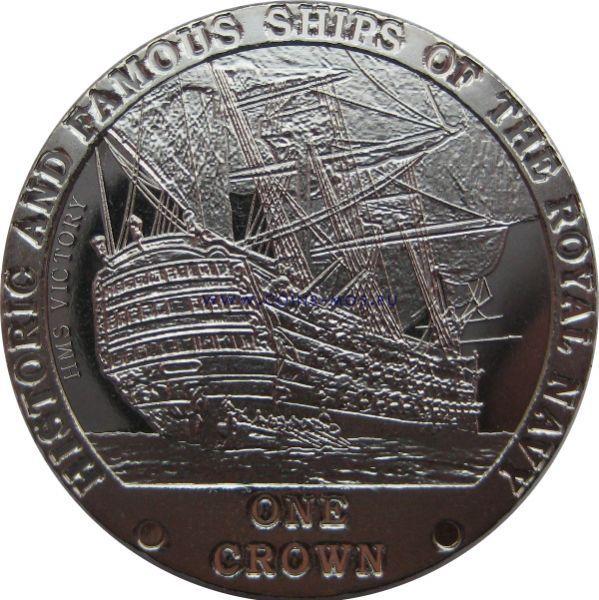 Тристан-да-Кунья. Знаменитые корабли Королевского флота «Дредноут» 1 крона 2008 г.