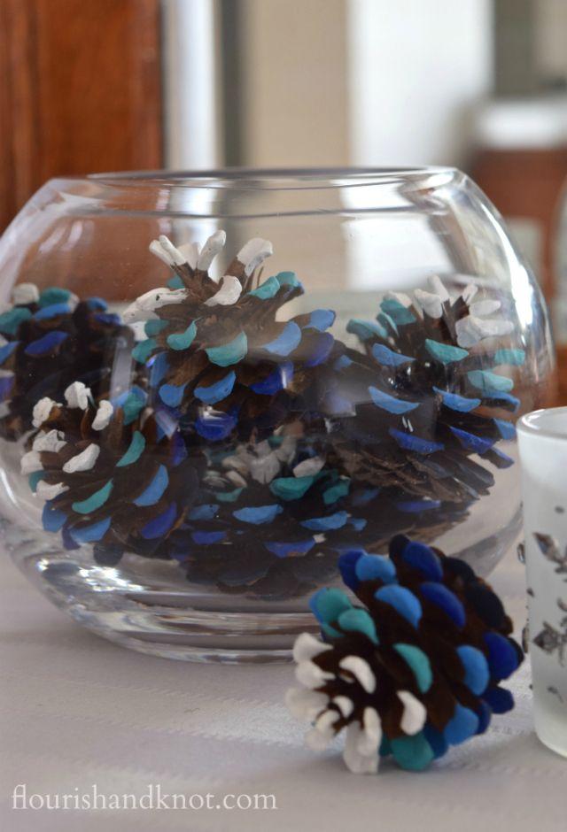 Blue Ombré Pinecones 1