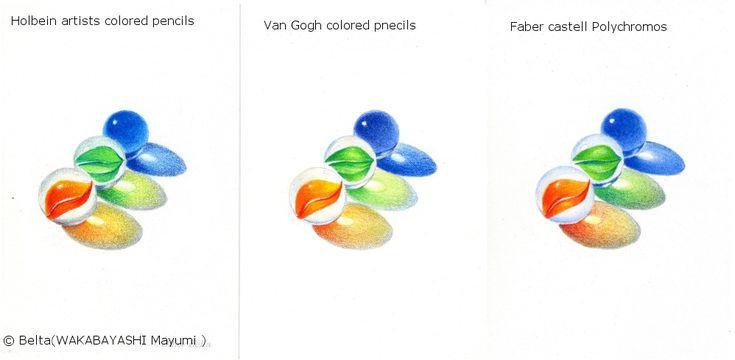 https://flic.kr/p/f7UZ6Z | 2013_07_09_ comparison. | Colored  pencil comparison.  left isHolbein 36 set  center is Royal Talens Van Gogh 36 set  right is  Faber-Castell Polychromos 36 set  All beautiful!  © Belta(WAKABAYASHI Mayumi )