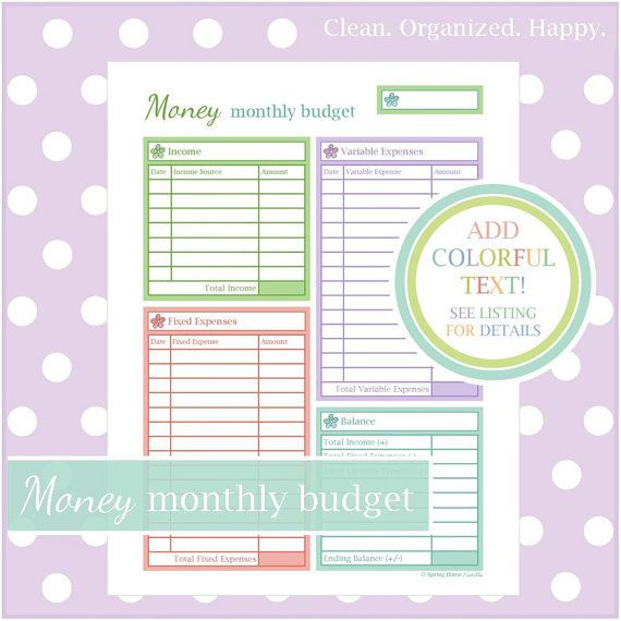 MONTHLY BUDGET WORKSHEET - 1 Document - Instant Download - home binder ...