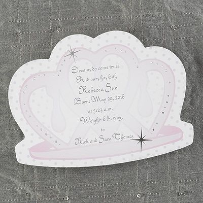 Our Little Princess - Birth Announcement  http://mediaplus.carlsoncraft.com/Baby/Baby-Girl/CA-CA4975-Our-Little-Princess--Birth-Announcement.pro