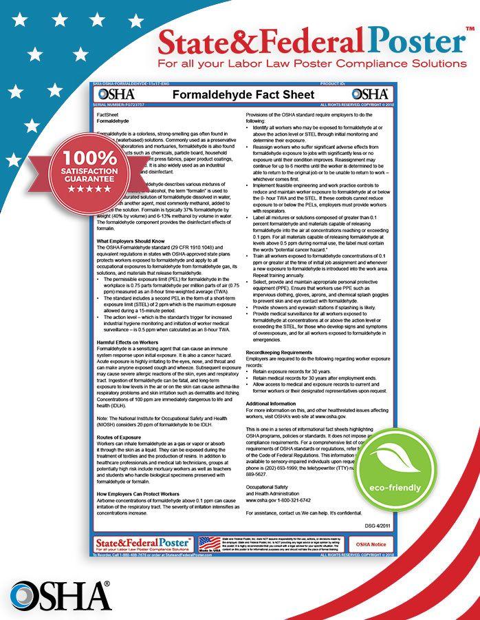 OSHA Formaldehyde Factsheet! This fact sheet informs