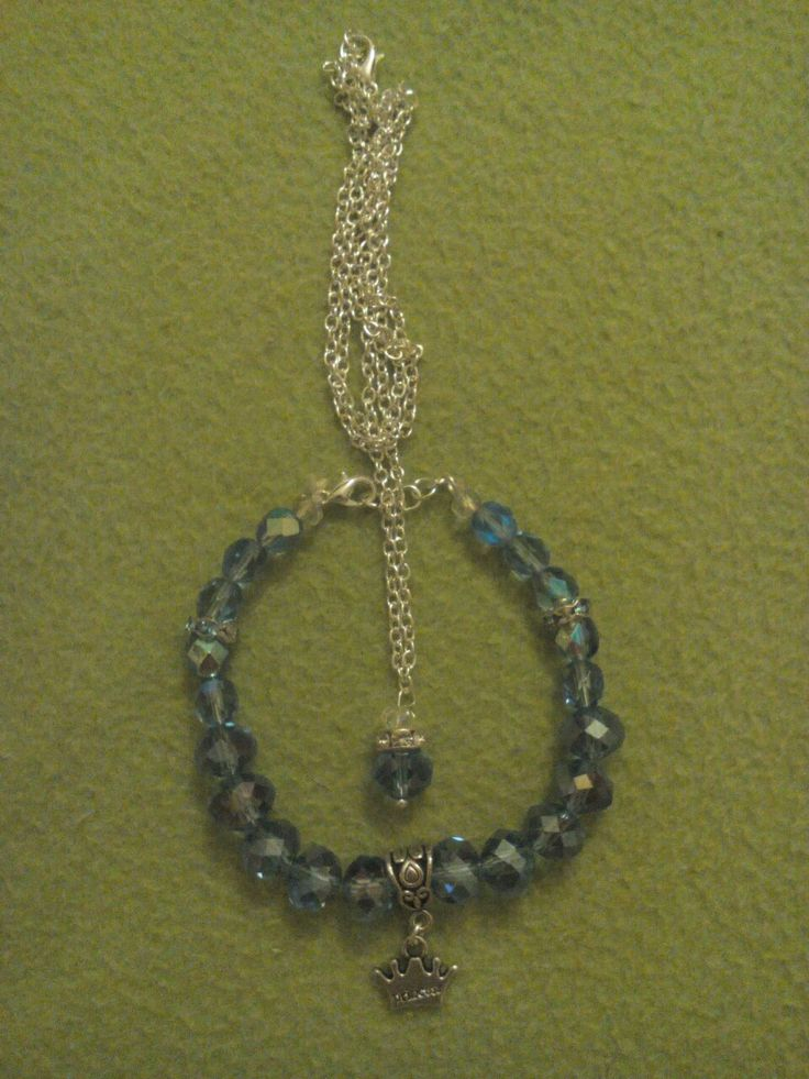 Blue-crystal bracelet & necklace
