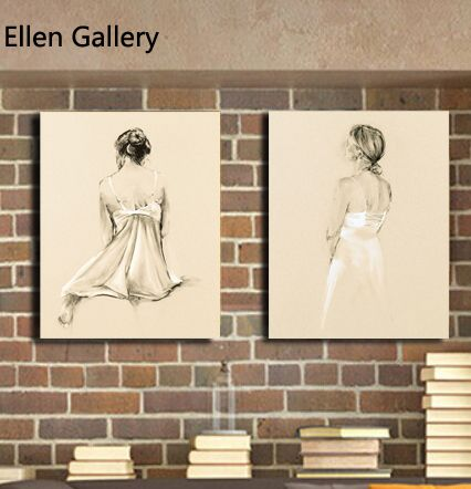 2 штук портрет новый cuadros украшения холст картины настенные панно для гостиной современного искусства эскиз home decor 2016 нет кадр