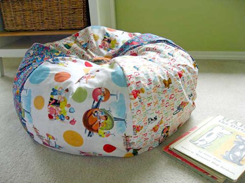 How to make a bean bag chair!  Yippee!  Once I am done with the basement I was going to buy a couple for the kids to sit on while they play video games, but if I get brave making them would be so much cooler!