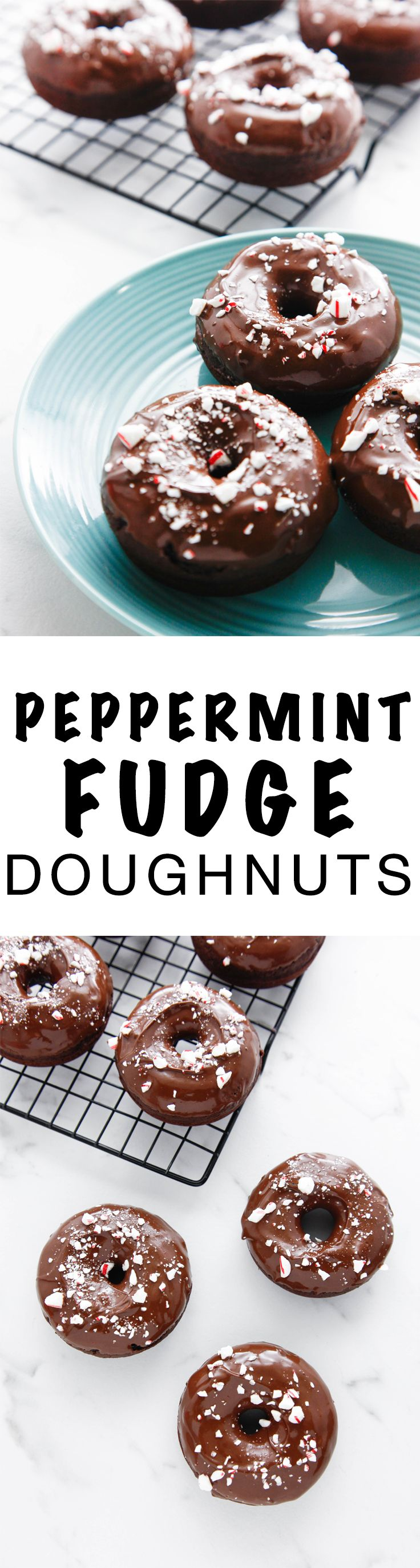 Peppermint Fudge Doughnuts perfect for Christmas and all winter celebrations! Perfect for Christmas or dessert! via @thebrooklyncook