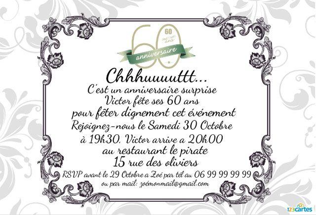 Invitation Anniversaire Surprise 60 Ans A Imprimer Vous Pouvez La