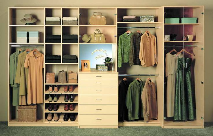 Built In Closets With Green Carpet