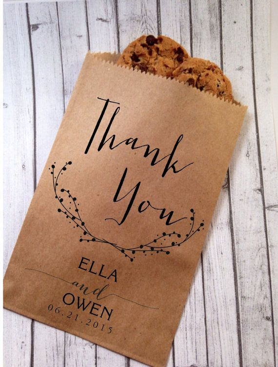 For cheap rustic wedding favours, make or buy personalised paper bags and bake homemade cookies to put inside | offer mini bottles of milk too if the guests want cookies and milk as a late night snack at the wedding or at their hotel