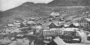 Gold Hill/Gold Hill, Nevada, in the 1860's. Located not far from Virginia City, Gold Hill shared in the Comstock Lode boom. Leading mines in the town were the Imperial, Empire, Challenge, and Confidence. Courtesy, National Archives.