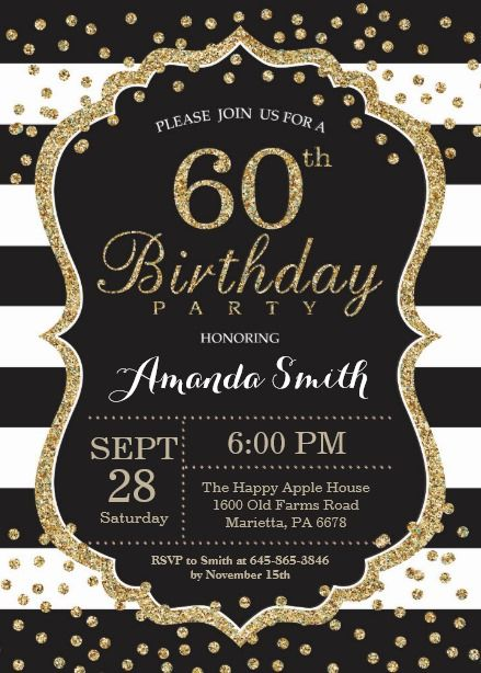 60th Birthday Invitation Black And Gold Glitter Card