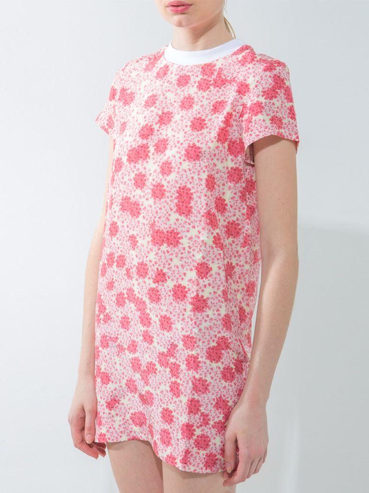 Rib neckline flower print tunic