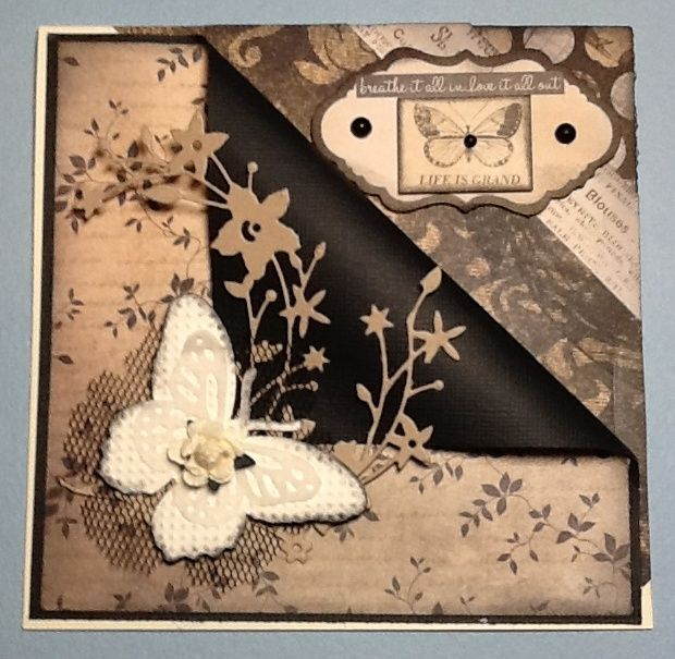 Kaisercraft Art of life papers, Catalina wreath die, Cuttlebug butterfly