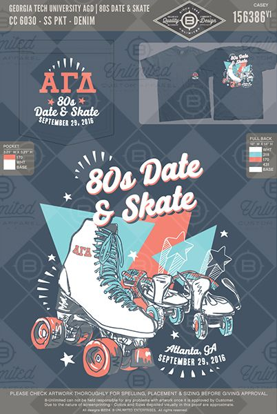 Georgia Tech University AGD 80s Date & Skate #BUnlimited #BUonYOU #CustomGreekApparel #GreekTShirts #Fraternity #Sorority #GreekLife #TShirts #Tanks #Skates #AlphaGammaDelta #AGD #AlphaGam #80s #Skate&Date #RollerSkates #Retro #Throwback #80sFont #Stars #Function #Mixer #80sFunction #RollerDisco #RollerSkateFunction