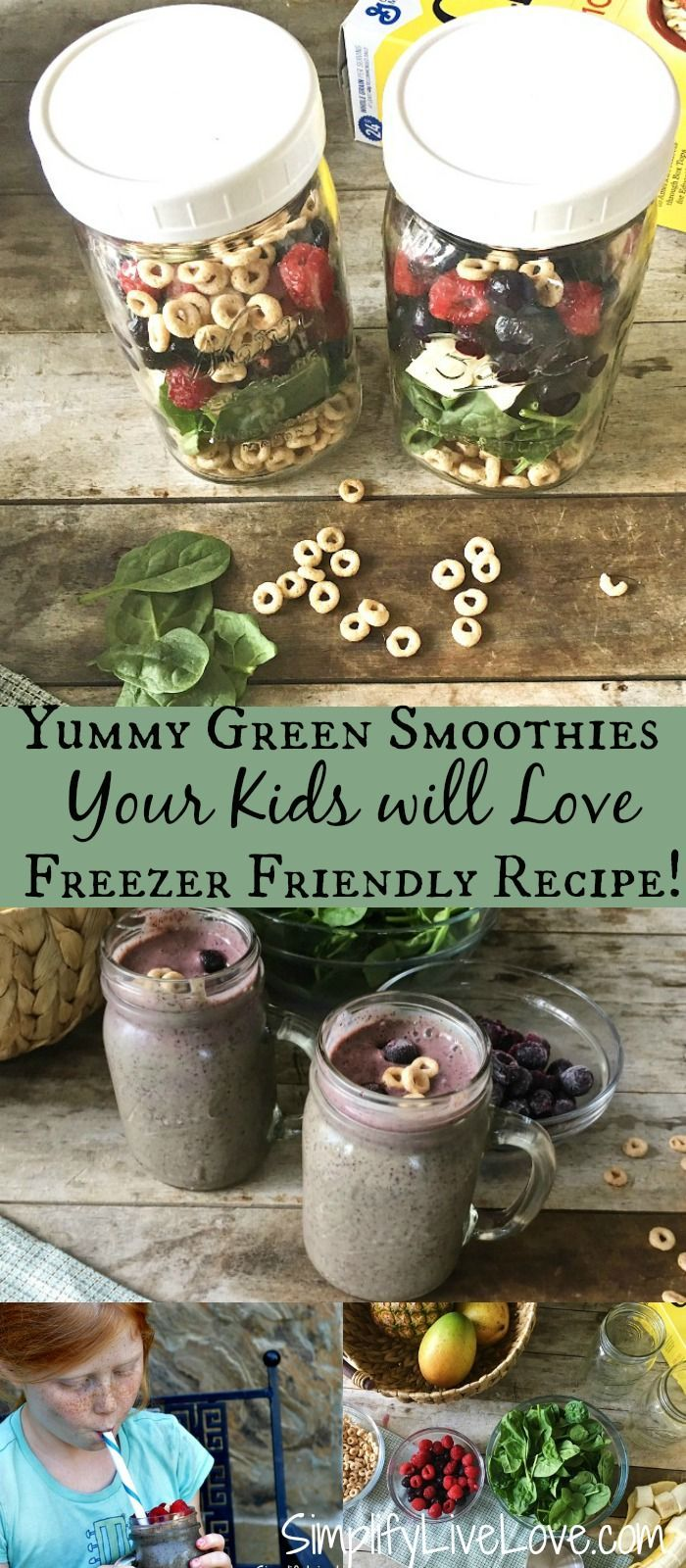 Yummy green smoothies your kids will love. Plus tips for how to freeze smoothies in glass jars. #ad #backtoschool