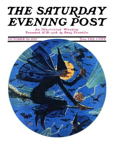 Witches Night Out, Saturday Evening Post Cover, October 29, 1927 Giclee Print by Eugene Iverd