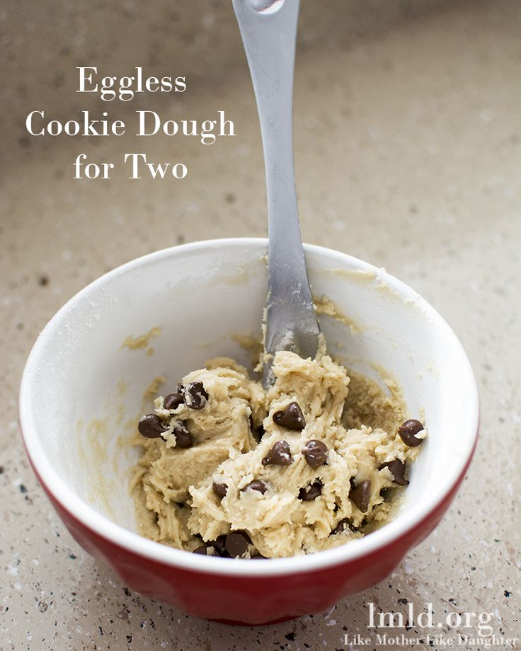 This eggless cookie dough for two is easy to whip up and makes just a small bowlful of your favorite cookie dough treat without any eggs! #lmldfood