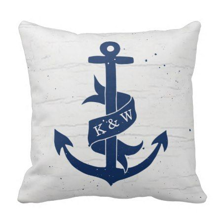 Rustic Vintage Anchor Monogram Pillow / Navy - click to get yours right now! #illustrations #illustration #gift #gifts #giftideas #giftforher #initials #monogram #monogrammed #marine #nautical #homedecor