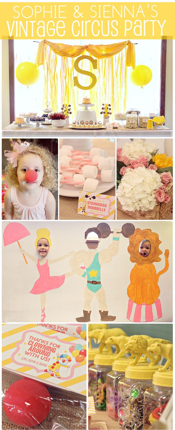 The Busy Budgeting Mama: Sophie & Sienna's Vintage Circus Birthday Party - LOTS OF LINKS AND PARTY INSPIRATION.. Dessert Table, Circus DIY Photo Cut Out, DIY party details and decorations and more!
