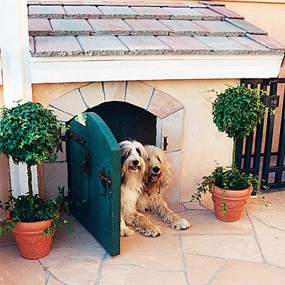 A doghouse that attaches to an exterior house wall.  A dog door from the inside of the house connects to the doghouse, allowing pets to travel in and out while disguising the door from the outside