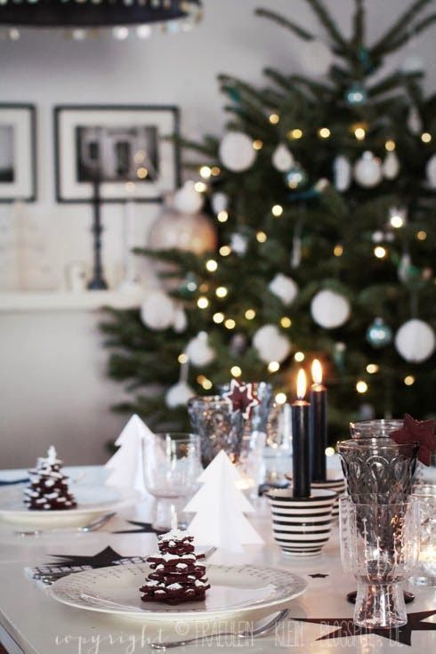 simple white Holiday table