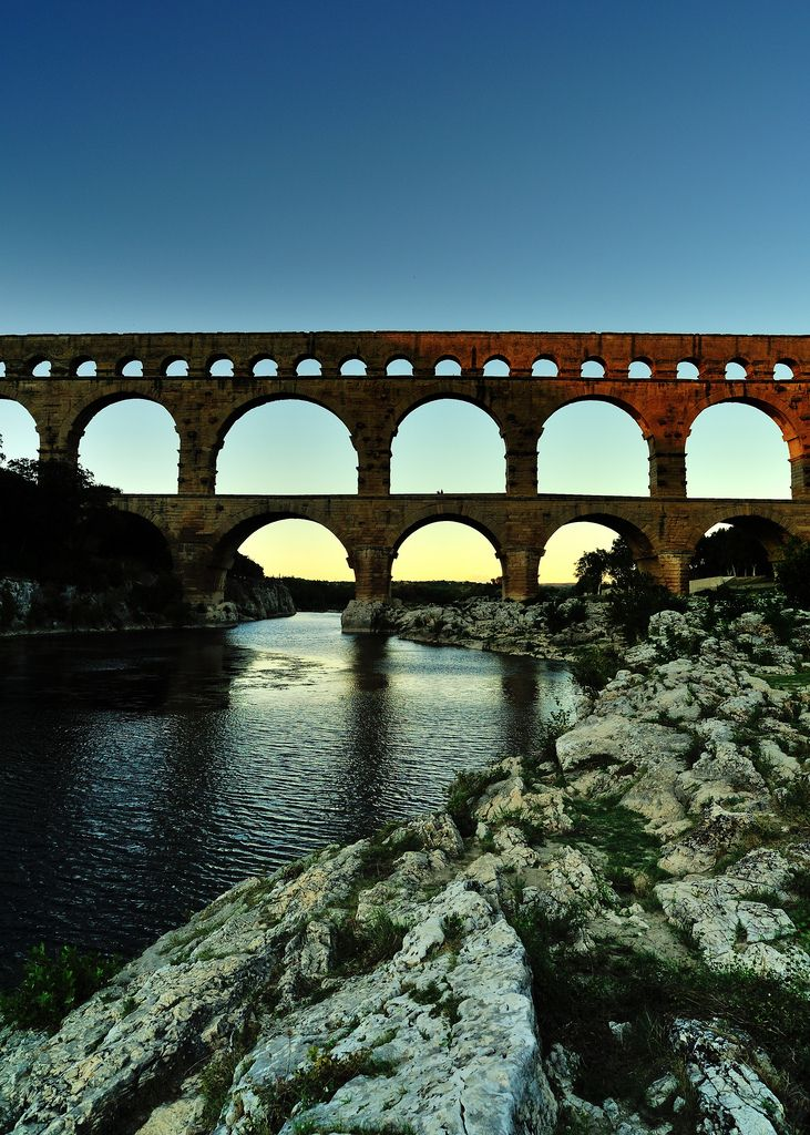 Pont du Gard in Provence, France. Where I went cliff diving for the first time. A must do!