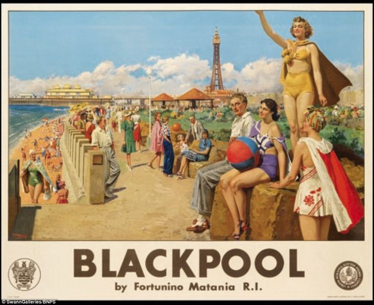 Italian artist Fortunino Matania's 1926 poster showing adults relaxing near the seaside in Blackpool