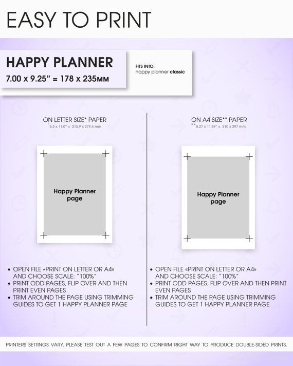 23 best DIY planner printable Happy Planner inserts classic size - planner page templates
