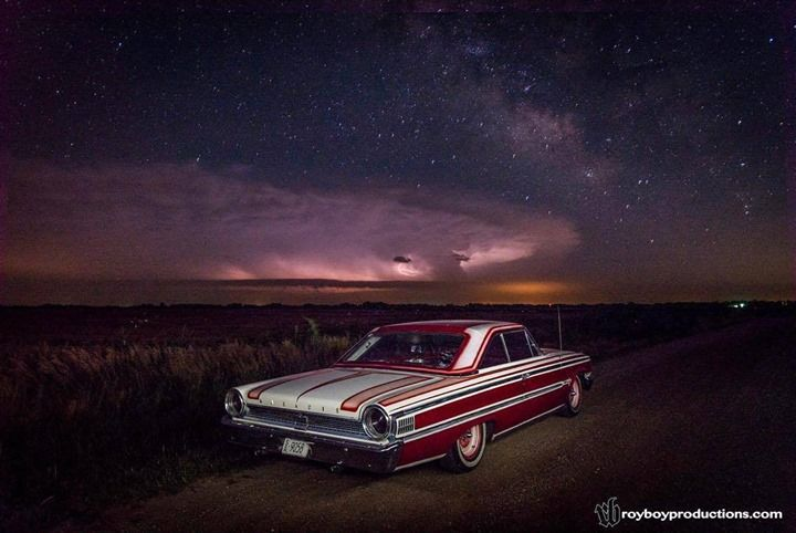 My favorite photo of my car. It was quite an accident just happening to be driving the Galaxie one night with the camera in the trunk and a thunderstorm sharing the sky with the Milky Way. Without any flashes I had to improvise and light paint the car with my iPhone flashlight. But it all kind of worked. Long exposure cloud to cloud lightning lit up part of the sky the flashlight lighting up the car and the stars taking care of the rest. http://ift.tt/2Ckhnrp