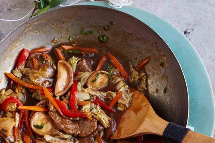 Das Rezept für In Tee mariniertes Rindfleisch mit buntem Gemüse mit allen nötigen Zutaten und der einfachsten Zubereitung - gesund kochen mit FIT FOR FUN