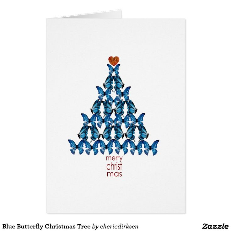 Blue Butterfly Christmas Tree #christmas #card