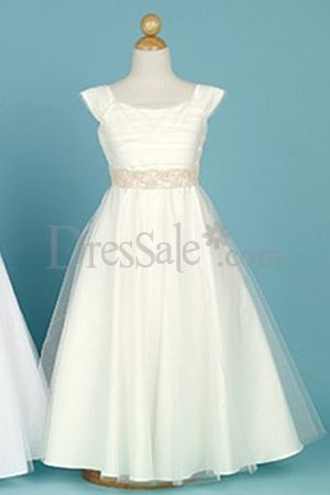 Scoop Neck A-Line White Flower Girl Gown