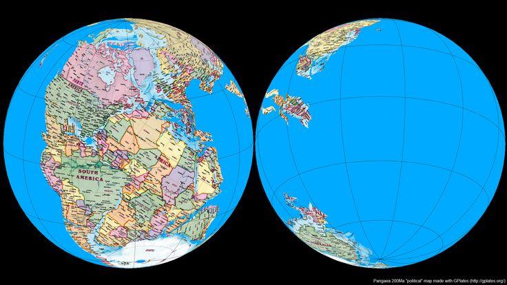 Pangaea with modern day political borders, by koshgeo #map #pangaea #world