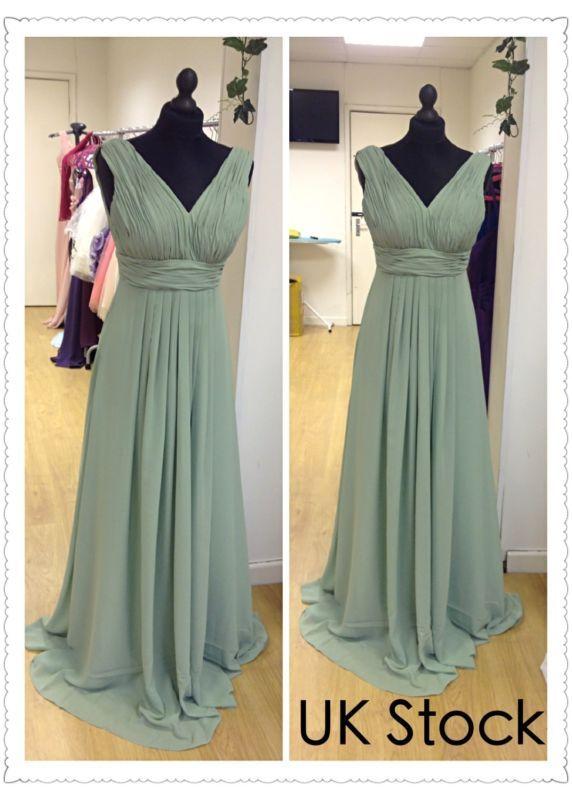 Sage Green Grecian Style Prom Evening Wedding Bridesmaid