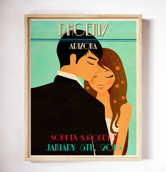 Unique Wedding Gift Personalized Vintage Wedding by CherimoyaArt