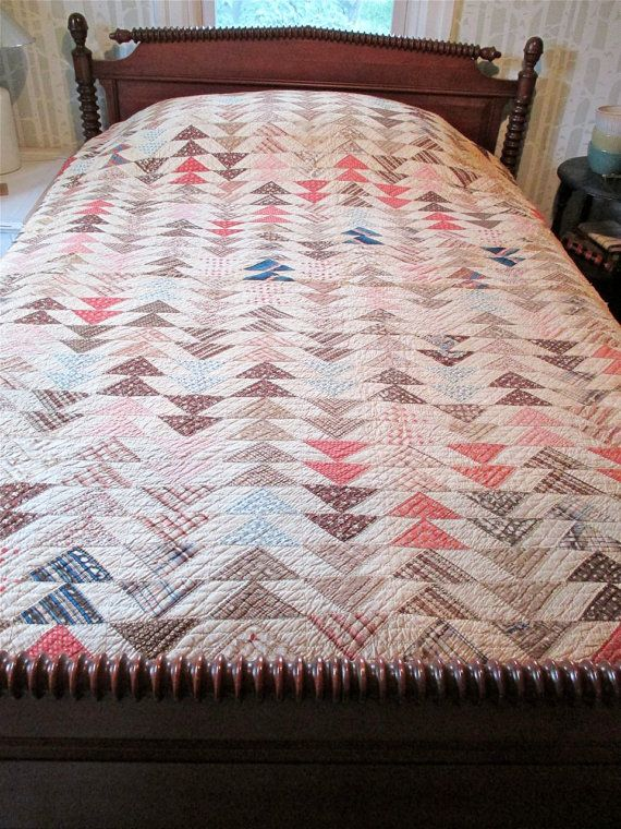 Antique Quilt Flying Geese Hand quilted by Fishlegs on Etsy