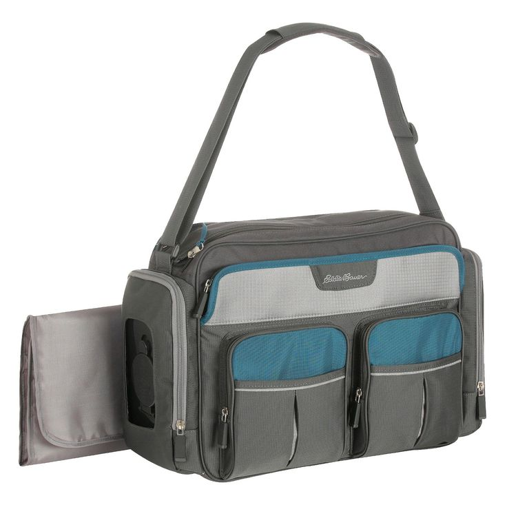 Features abound in the Eddie Bauer First Adventure Places & Spaces Duffle Diaper Bag. A Target Exclusive that is the perfect diaper bag for Mom or Dad. The large double top zip opening easy access to the spacious main compartment with insulated bottle pockets and separate zip close pocket to hold your keys, wallet, or other valuables. 6 exterior pockets cover all of your other storage needs, including a insulted side bottler pocket, that will keep your bottles at temperature, 2 front ...