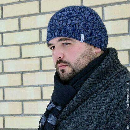 Шапки ручной работы. Ярмарка Мастеров - ручная работа. Купить Мужская шапочка сине-серого цвета .. Handmade. Вязаная шапка