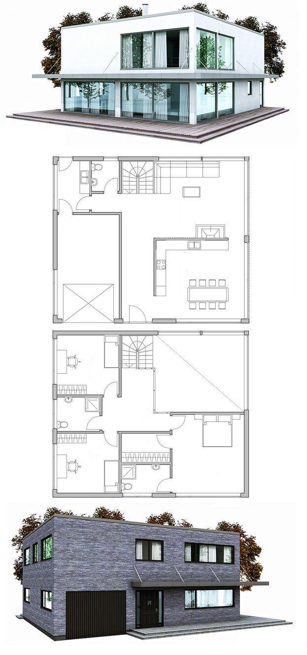 Modern Contemporary home plan, three bedrooms, garage, nice open living areas, abundance of natural light.:
