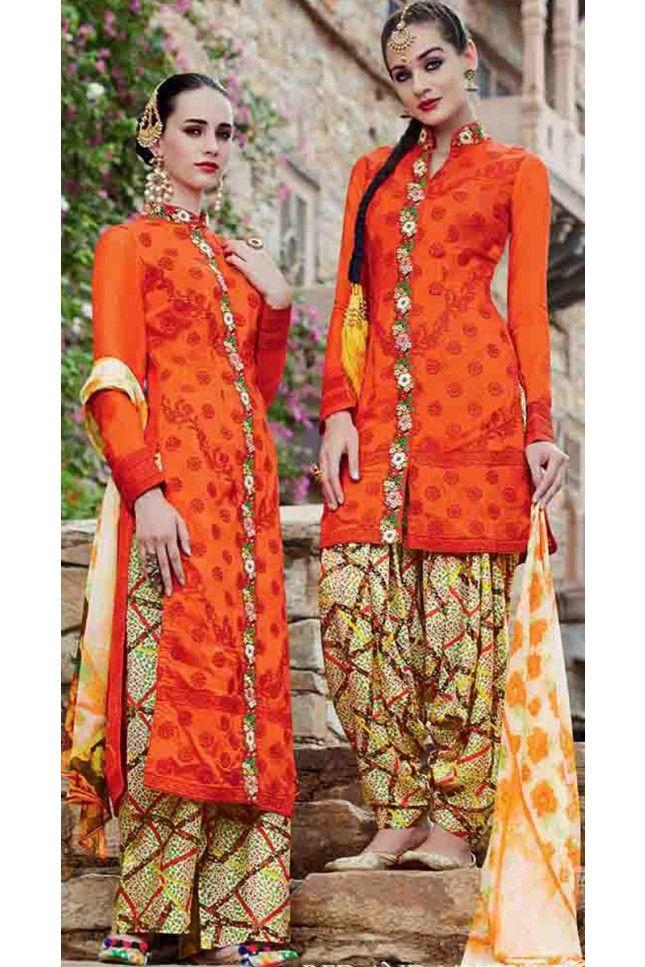 Vivacious Orange Cotton Embroidered Patiala Salwar Kameez