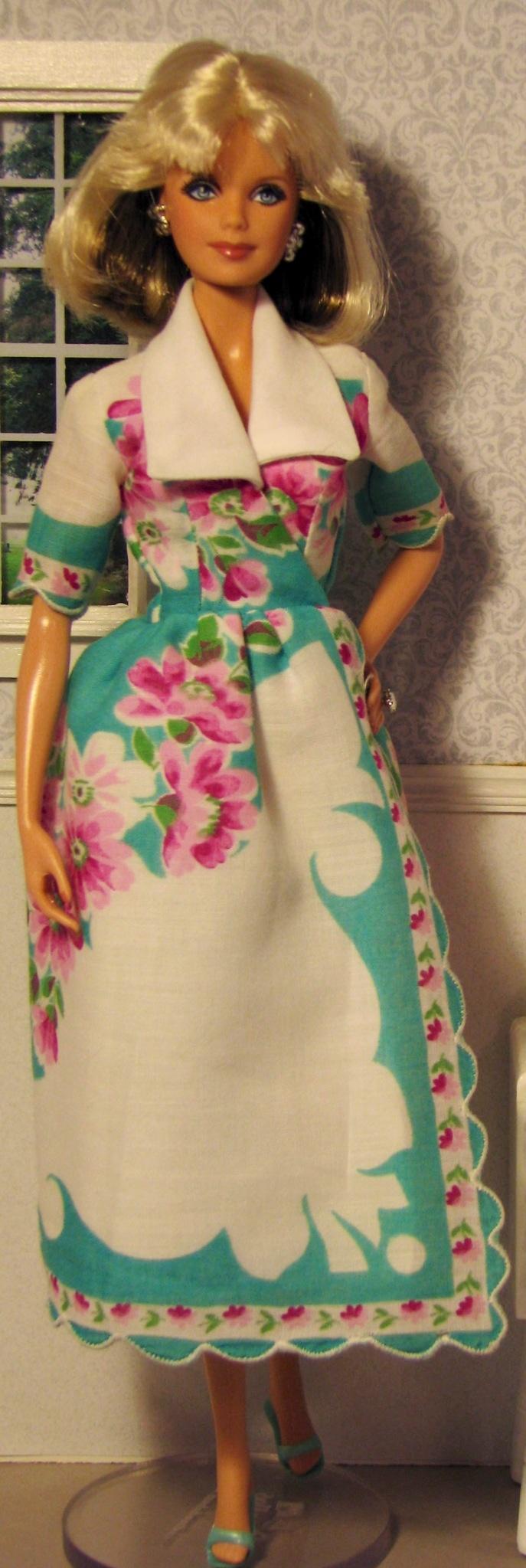 Wrap Barbie dress made from vintage hankie