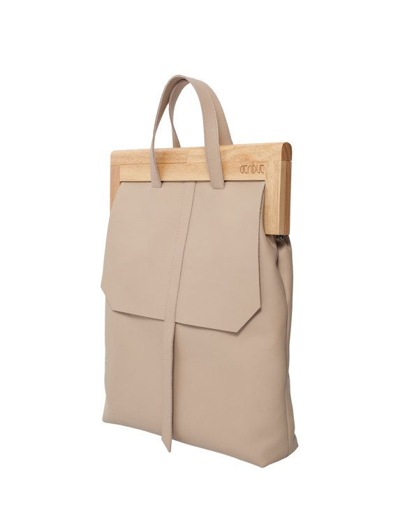 Wood and leather handbag Leather and wood tote bag by 1stAtribut