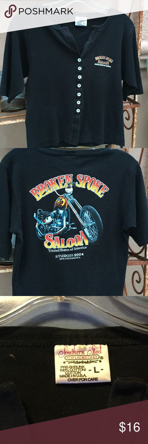 """Sturgis, Broken Spoke Saloon Crop tee Quality blk tee, 2004 HD RALLY tee shirt, button up front. Tagged LG, length is 19"""", pit to pit laying flat 17"""", so fits more like a Med Southern steel Tops Tees - Short Sleeve"""