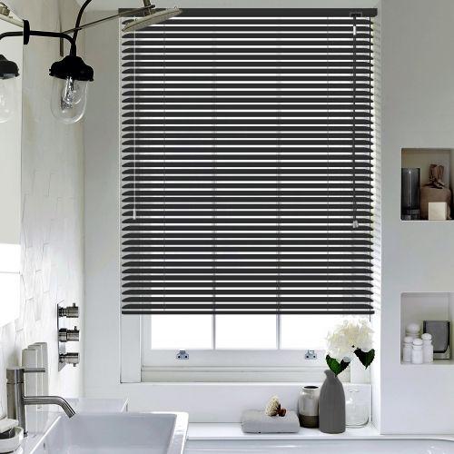 Perforated Black Venetian blinds
