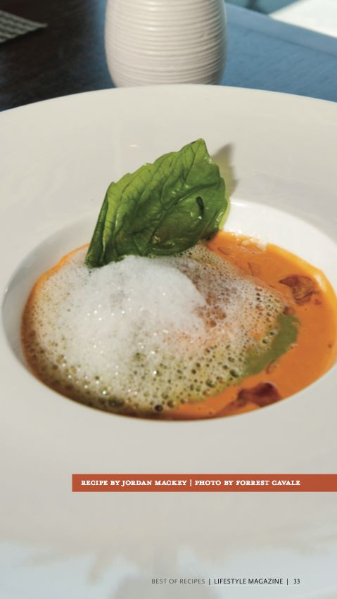 Chilled Heirloom Tomato Soup with Elements of Pesto, Pine Nuts, Garlic ...