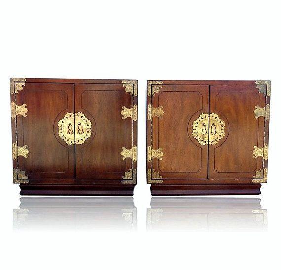 Vvh Vintage Pair Henredon Pan Asian Nightstands Chests James