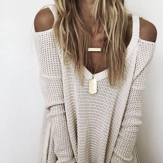 cold shoulder knit top and matte gold necklaces