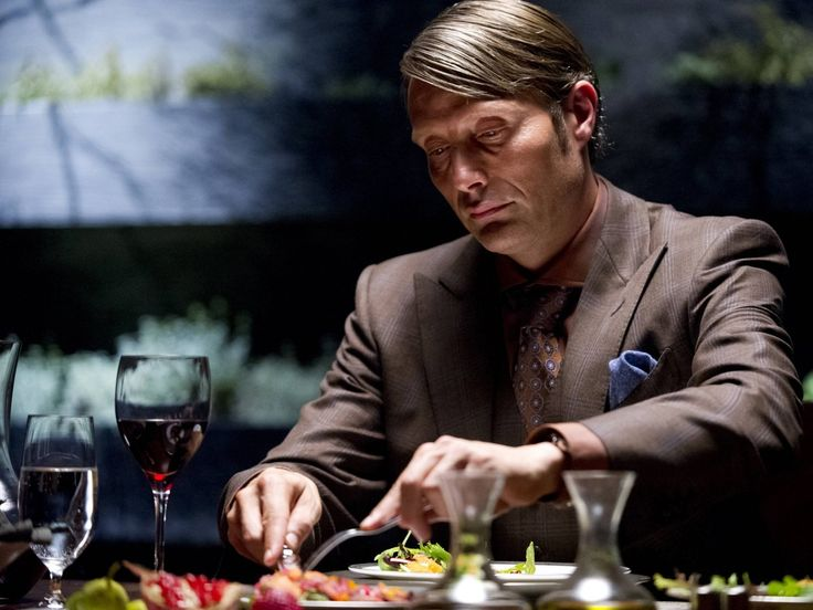 Danish actor Mads Mikkelsen in three-piece suits, prince-of-wales checks, rich colours and paisley ties with double Windsor knots (costume designer Christopher Hargadon)